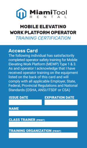 Certification Card for Mobile Elevating Work Platforms Training Card