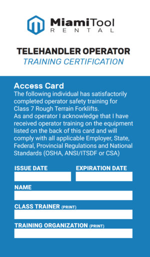 Certification Card for Telehanders